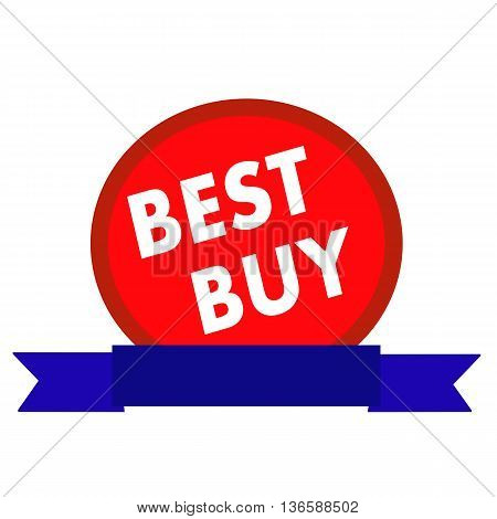 best buy white wording on Circle red background ribbon blue