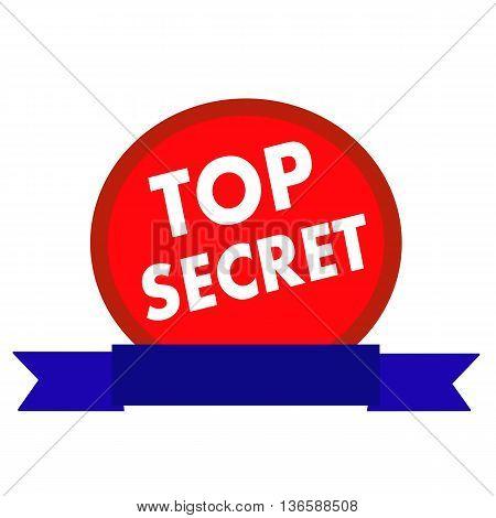 top secret white wording on Circle red background ribbon blue