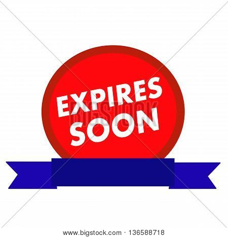 expires soon white wording on Circle red background ribbon blue