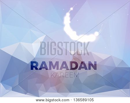 Glitter islamic Moon on the mountains luxury design. ramadan kareem greeting card vector template