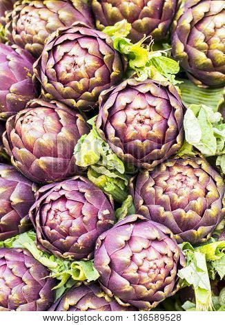 artichokes in bouquet at the local market