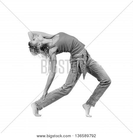 colorless full length picture of a casual young woman standing, isolated on white background