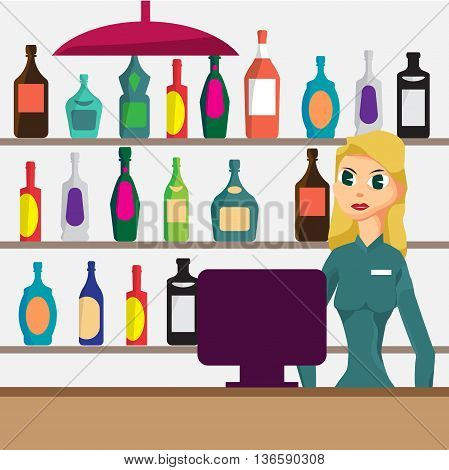 Woman seller in shop of elite alcohol. Vector flat cartoon illustration. Alcohol assortment of containers.