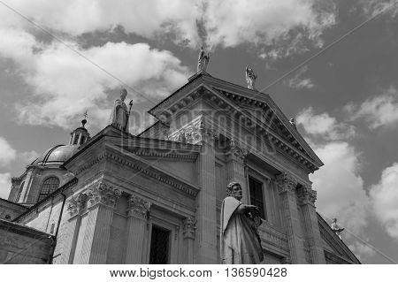 Cathedral of Urbino in Italy in black and white