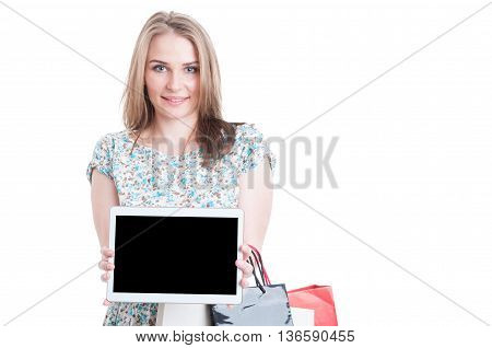 Smiling Young Model Holding Tablet With Blank Dispaly