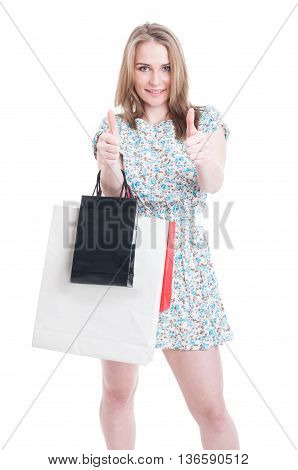 Smiling Beautiful Shopper Doing Double Like Gesture