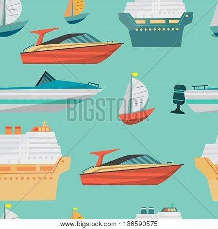Seamless vector pattern with motor boat and ships cruise liner. Sea or river ship, flat cartoon background