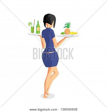 Brunette woman waitress with two trays on the beach. Back view. Isolated flat cartoon illustration