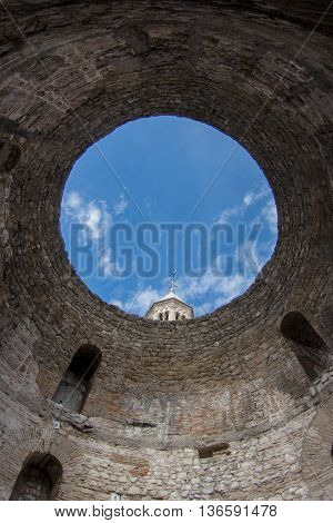 Inside a round tower in the old town of Split