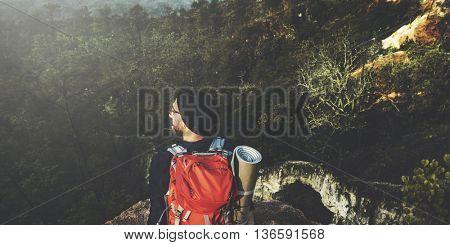 Man Hiking Success Cliff Adventure Concept