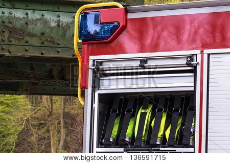 Constituents of a fire safety equipment in an erase groups Vehicle German Fire department.