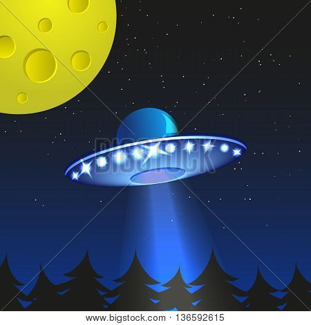Background with alien spaceship. World UFO day. Vector Illustration.