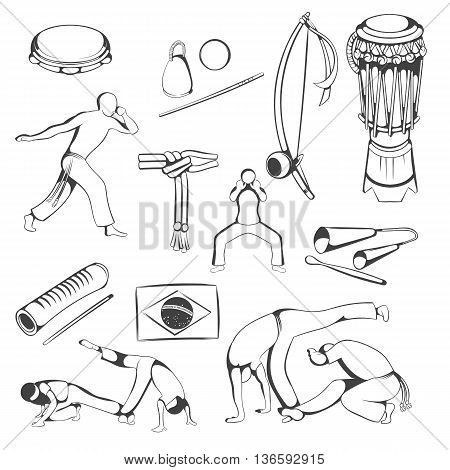 Set of Black and white hand drawing Capoeira elements.