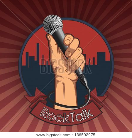 hand holding a microphone in a fist. retro rock poster. illustration rock talk print.