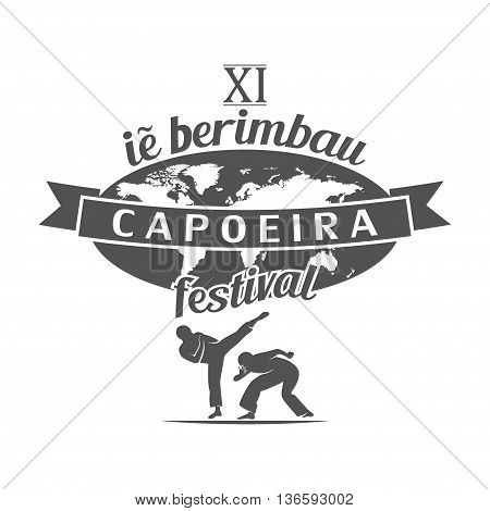 capoeira berimbau festival poster or t-shirt print illustration.
