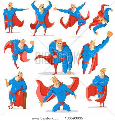 Old charismatic hipster Superhero in different poses. Superhero in action. illustration