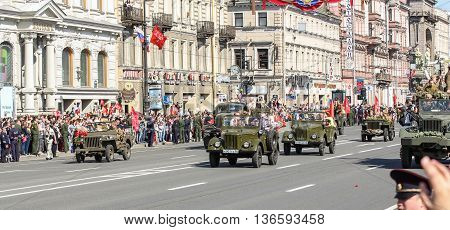 St. Petersburg, Russia - 9 May, Parade of military avtotehnikm antiquity, 9 May, 2016. Holiday-action