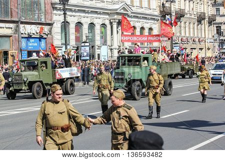 St. Petersburg, Russia - 9 May, Soldiers and machines of World War II, 9 May, 2016. Holiday-action