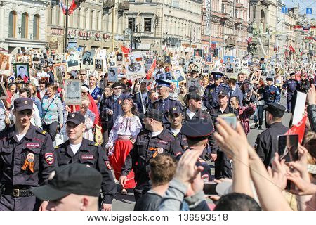 St. Petersburg, Russia - 9 May, A crowd of people in the convoy, 9 May, 2016. Holiday-action