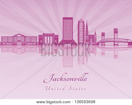 Jacksonville skyline in purple radiant orchid in editable vector file