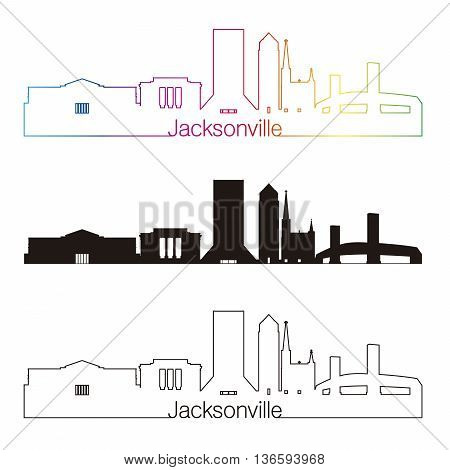 Jacksonville skyline linear style with rainbow in editable vector file