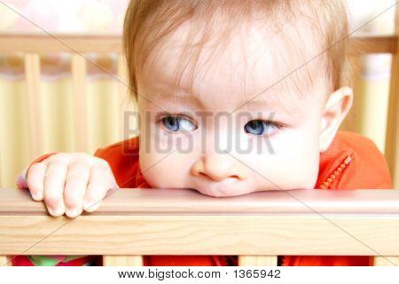 Baby In Bitting On Crib