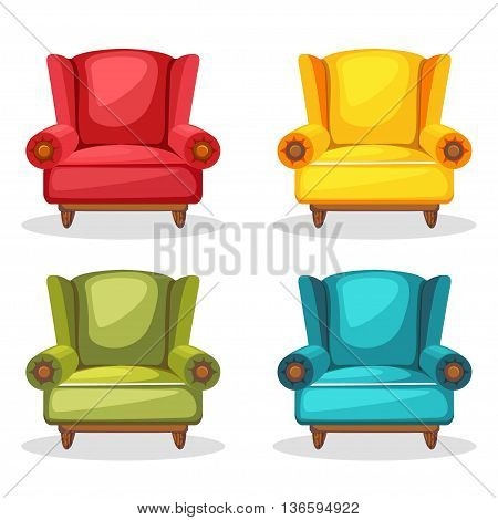 armchair soft colorful homemade, set 2 in vector