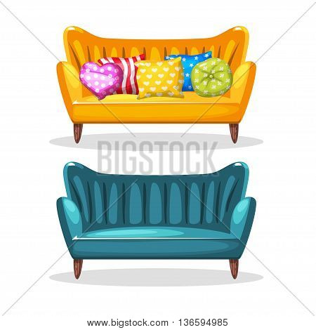 sofa soft colorful homemade, set 5 in vector