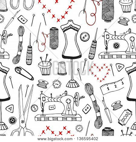 Needlework and sewing equipment seamless pattern. Vector hand drawn craft supplies print.