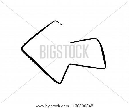 Sketchy arrow - left direction. Black vector graphic. Pointer illustration. Symbolic object.