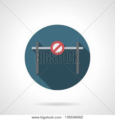 Horizontal bar barrier with forbidden sign. Road block, barricade and other objects for traffic control or prohibition. Round flat color style vector icon.