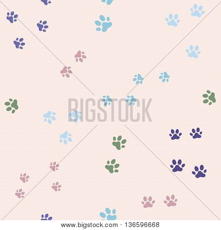 Colorful seamless pattern with cat footprints. Vector, Seamless pattern can be used for wallpaper, web page background