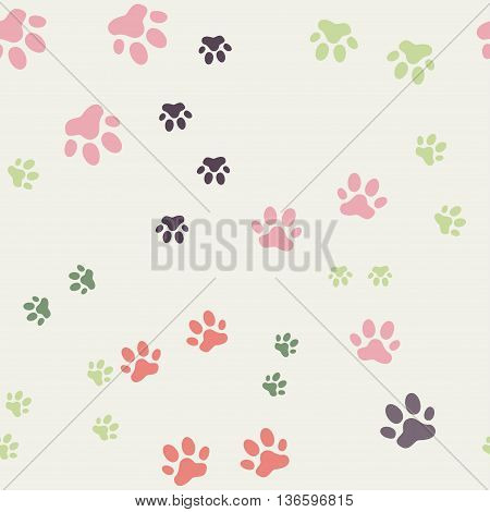 Colorful seamless pattern with cat footprints. on a gray background. Vector, Seamless pattern. for wallpaper, web page background