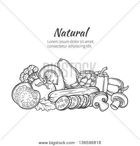 Hand drawn vegetables banner with tomato, avocado, artichoke, mushroom, peppers, broccoli. Vector illustration vegetables in old ink style.