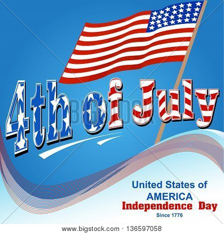 Illustration of background for independence day of America with flag wave