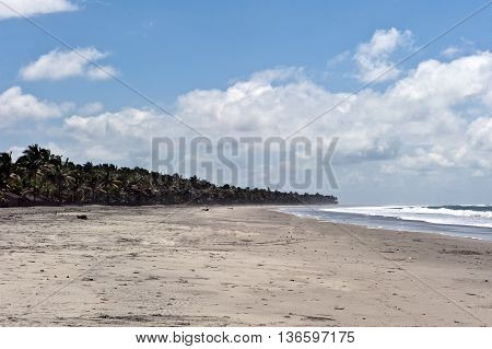 panorama of the coast and beach Monpiche in Ecuador