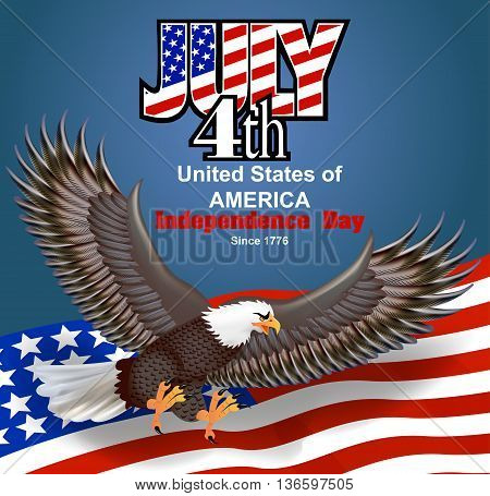 Illustration of background for independence day of America with flag and eagle