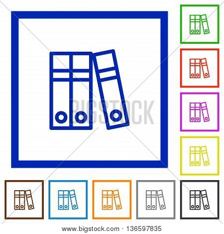 Set of color square framed Document folders flat icons