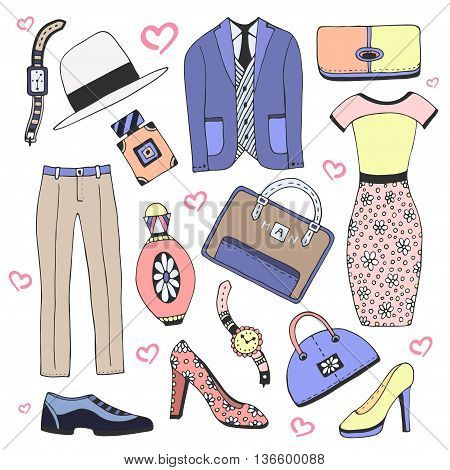 Fashion clothes and accessories set. Doodles vector sketch icons for man and woman beauty design