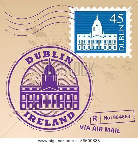 Stamp set with Dublin, Ireland inside, vector illustration