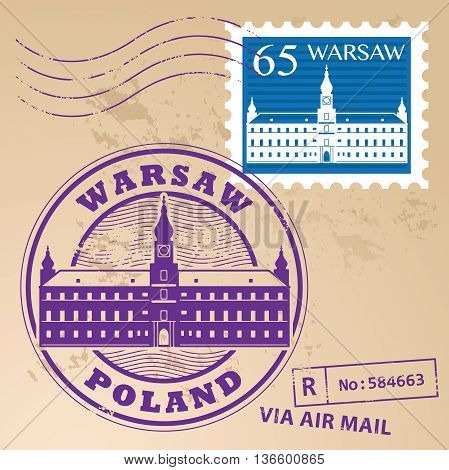 Stamp set with words Warsaw, Poland inside, vector illustration