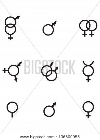 Gender Symbols icon females gender symbol icon set human gender
