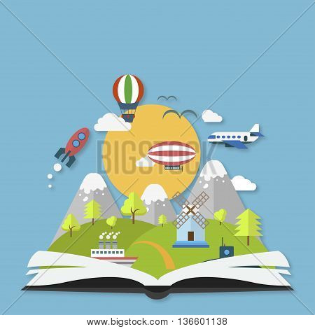 Imagination Concept Open Book With Rocket And Clouds