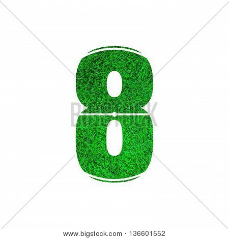 Number 8 (eight) with green grass texture background.