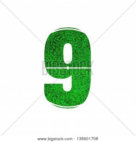 Number 9 (nine) with green grass texture background.