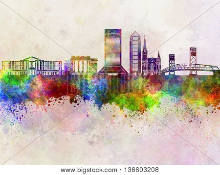 Jacksonville skyline in artistic abstract watercolor background