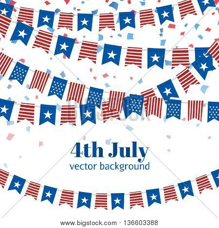 July 4.Independence Day USA. American Independence Day flags design. A template background for greeting cards, posters, leaflets and brochure.Vector illustration
