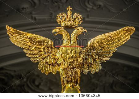 ST. PETERSBURG, RUSSIA - OCTOBER 28: Double-headed eagle on the facade of the Hermitage museum on October 28, 2015