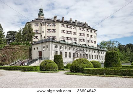 View of Famous Ambras Castle Innsbruck Austria