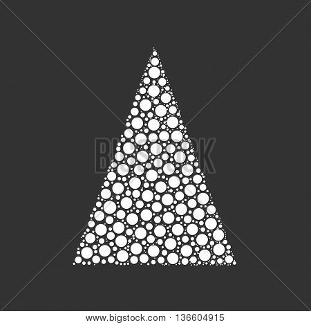 Simple abstract chrismas tree of dots, or circles, in a triangle shape. Looks like pyramyd of snow balls. White illustration on grey background.